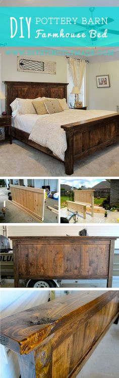 Check out how to build a DIY Pottery Barn inspired farmhouse bed Industry Standa. - Check out how to build a DIY Pottery Barn inspired farmhouse bed Industry Standard Design - Furniture Projects, Home Projects, Diy Furniture, Bedroom Furniture, Rustic Furniture, Furniture Plans, Bedroom Headboards, Headboard Ideas, Wood Headboard