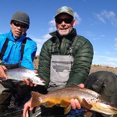 Sea run and Brown. One left home. One stayed. #thatslife Doug (dirt bag) and Dennis living the life. #dirtbag #flyfishing #browntrout #seatrout #sunrayflyfish @solidadventures
