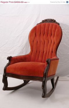 Victorian Rocking Chair Rococo Revival Balloon Back Button Tufted Rocker on Etsy, $396.00