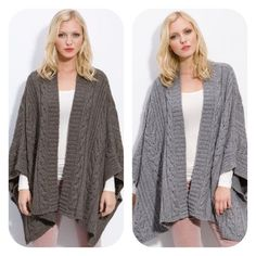 """Nordstrom Caslon Gray Cable Knit Swing Poncho, S/M Classic cables and chunky ribbed stitches texture a warm, lofty poncho designed with an open front for added swing and swirl. Approx. length from shoulder: 27"""". Cotton/wool/acrylic/other fibers; hand wash. By Caslon®; Nordstrom, Point of View. Color: heather medium grey. Size S/M. Runs on the generous side. Tried on only! Like NEW! Absolutely beautiful on! Caslon Sweaters Shrugs & Ponchos"""