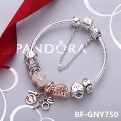 $169 Pandora clear white gold theme bracelet valentine's day gift