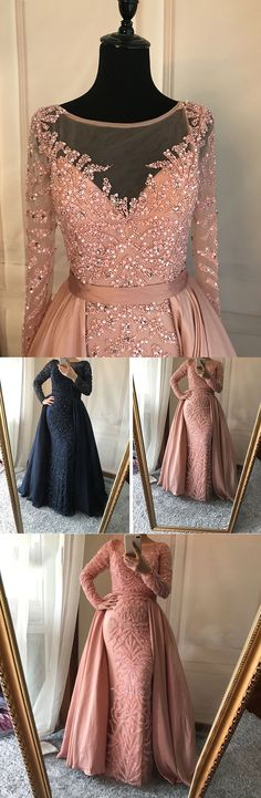 Dusty Pink Prom Dress,Detachable Prom Dress,Mermaid prom Dresses, Gorgeous Beading Prom Dress,Charming Prom Dress,Long Sleeve Prom Dress,Evening Party Dress,PD1709#sposadress#promdress
