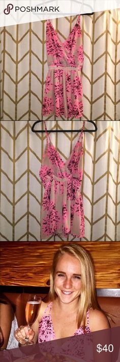 Tan & pink party Romper Romper - not dress! Wore it for my birthday and loved it; excellent condition; super cute, low cut back romper. The Clothing Company Dresses