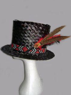 Black Top Hat with trim Flax Weaving, Basket Weaving, Maori Designs, Black Top Hat, Plait, Old Glory, Beanies, Macrame, Weave