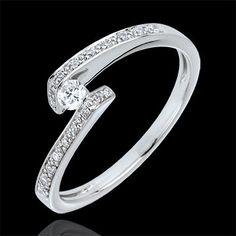 ventes Bague Solitaire accompagné Promise or blanc - diamant 0.08 carats