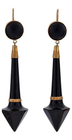 *Stunning Jet earrings from the Victorian (ca1880) era! These fabulous earrings are made of hand carved Jet accented with 15kt rosy yellow gold.