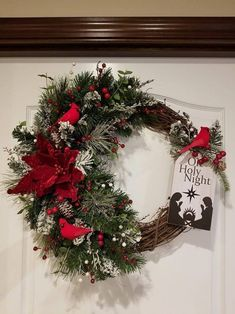 This elegant one of kind a front door wreath beautiful Cardinals, and Velvet Poinsetta will be the perfect Wreath for Christmas added to your Christmas Decor. All my wreaths make great gifts! If you wish to purchase this wreath as a gift, please let me Outdoor Christmas Tree Decorations, Christmas Wreaths To Make, Mini Christmas Tree, Holiday Wreaths, Rustic Christmas, Simple Christmas, Christmas Crafts, Minimalist Christmas, Winter Wreaths