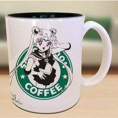 Sailor Moon X Starbucks Anime Geek Nerd Manga Gamer Inspired... ($17) ❤ liked on Polyvore featuring home, kitchen & dining, drinkware, animal mugs, animal coffee mugs, black ceramic mug, ceramic coffee mugs and ceramic tea mug