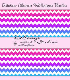 ROYAL BLUE CHEVRON Wallpaper Border Wall Art Decals Stickers Room ...