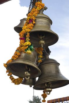 Hindu temple bells. Garwhal, Uttarakhand, Northern India.
