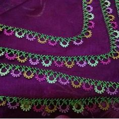 Alıntı Gorgeous Turkish oya needlework on this eggplant-colored scarf Needle Tatting, Needle Lace, Crochet Trim, Crochet Lace, Knitting Socks, Baby Knitting, Doll Patterns, Knitting Patterns, Hand Embroidery