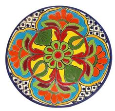 Round Colorful Vengas Talavera Plate