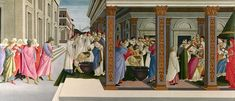 Sandro Botticelli, Four Scenes from the Early Life of Saint Zenobius, c. 1500, Tempera on Panel, 66.7 x 149.2 cm, National Gallery, London