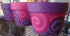 Swirl terracota hand painted pots. macetas arte y natura