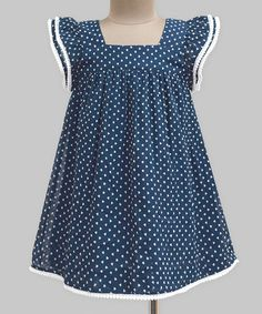 Navy Hearts Angel-Sleeve Dress - Infant, Kids & Tween #zulily #zulilyfinds