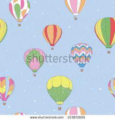 stock vector : Vintage Hot Air Balloon Pattern