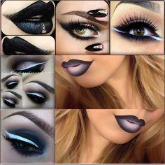 Black n white themed makeup Cflower, Oufra, depechegirl, 1adydanger