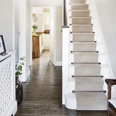 Modern hallway pictures and photos for your next decorating project. Find inspiration from of beautiful living room images White Hallway, White Stairs, Modern Hallway, 1930s Hallway, Victorian Hallway, 1930s Semi Detached House, 1930s Living Room, 1930s House Renovation, Hallway Pictures