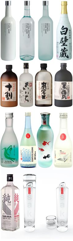 "Sake is an alcoholic beverage of Japanese origin that is made from fermented rice. Sake is sometimes called ""rice wine"" but the brewing process is more akin to beer, converting starch to sugar for the fermentation process. Beverage Packaging, Bottle Packaging, Brand Packaging, Packaging Design, Japanese Drinks, Japanese Sake, Drink Bar, Liquor Bottles, Bottles And Jars"