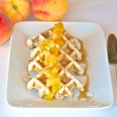 waffles with peach sauce - No eggs no butter waffles with fresh peach ...