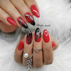 Nail Tip Designs, Elegant Nail Designs, Cute Acrylic Nail Designs, Simple Acrylic Nails, Simple Nail Art Designs, Beautiful Nail Designs, Pink Ombre Nails, Red Nails, Cute Nails