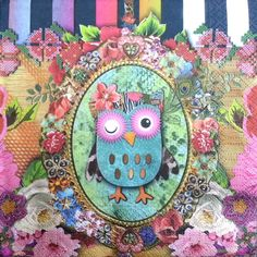 4 Single Paper Napkins for Decoupage Owl Birthday Cake Present