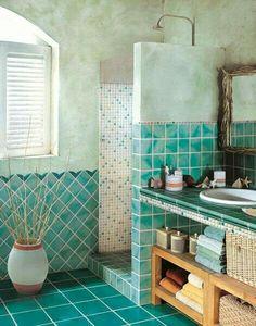 Teal Green bathroom - Modern Flooring For Bathrooms. Bathroom Tile Designs, Bathroom Colors, Bathroom Ideas, Bathroom Green, Turquoise Bathroom, Mirror Bathroom, Jacuzzi Bathroom, Bathroom Layout, Bathroom Renovations