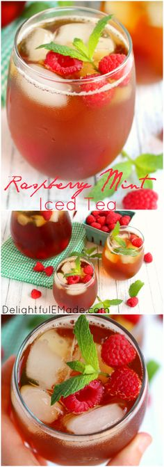 There's nothing better than a cold, refreshing glass of iced tea! Made with fresh mint, raspberries and steeped to perfection, this tea is the perfect drink for sipping on a hot summer day! #MeandMyIcedTea #ad @bigelowtea