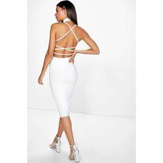 Boohoo Honor Slinky Strappy Back Choker Midi Dress | Boohoo (18,355 KRW) ❤ liked on Polyvore featuring dresses, ivory, white maxi dress, bodycon maxi dress, white dress, white skater dress and white party dresses