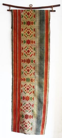 """Vintage Silk Textile referred to in Laos as a """"tin-sin"""".  For use as a runner or wall hanging."""