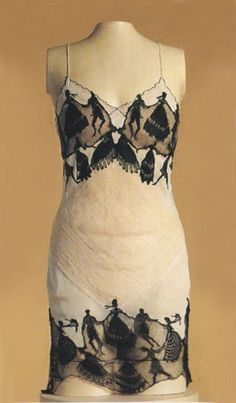 "Light-colored silk ""camiknickers"" (teddy) with silhouettes of dancing figures by Hermine, c. 1920's"