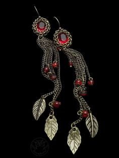 Red crystals in chainmaille (Half Persian setting), long chain tassel earrings