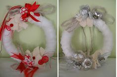 ghirlande d'inverno Grapevine Wreath, Grape Vines, Christmas Wreaths, Wreath Ideas, Holiday Decor, Home Decor, Winter Time, Fabrics, Decoration Home