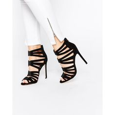 ASOS HIT THE MARK Caged High Heels (€75) ❤ liked on Polyvore featuring shoes, pumps, black, black stiletto pumps, caged pumps, high heel shoes, asos and stiletto pumps