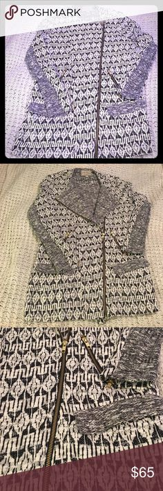 Lucky Brand moto sweater NWOT size large Brand-new Lucky Brand Moto sweater coat. Gorgeous jacquard fabric with contrast on sleeves. Tons of amazing zipper detail. Purchased from the Lucky store in Reno Nevada in December 2016. Lucky Brand Sweaters Cardigans