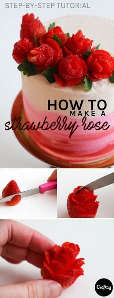 If piping buttercream flowers isn't for you, try cutting strawberry flowers to top off your cake. They are a beautiful, delicious, and healthy alternative to frosting flowers.