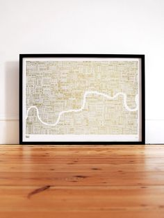 Limited Editions Foil Blocked London Type Map in Gold