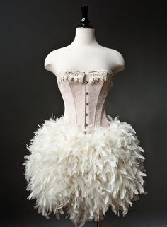 Peach and Ivory Burlesque Feather Corset Dress...