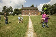 Playing outside at Shaker Village in Harrodsburg KY. shakervillageky.org