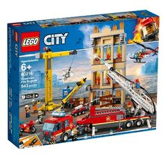 LEGO City Fire - Downtown Fire Brigade and thousands more of the very best toys at Fat Brain Toys. Build a massive fire ladder truck, a building under construction, a free-standing crane, a helicopter, and a motorbike! Lego City Sets, Lego Sets, Lego Disney, Porsche 911 Rsr, Legos, Batman Film, Lego City Fire, Lego Fire, Figurine Lego