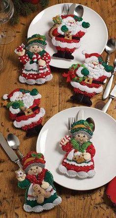 Moldes para hacer portacubiertos navideños en fieltro02