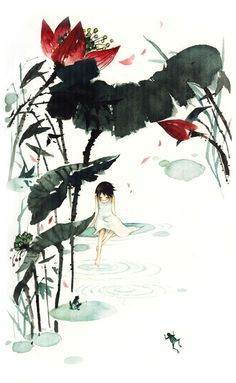lotus, chinese paint, lotus leaf, frog, pond, girl