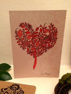 Beautiful hand made painted Love card. Perfect for Valentines' day. Made with Love by HappyDaisy  Size: card 10.5 x 14.5 envelope   Materials: Floral pattern card  glue