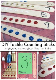 Simple DIY tactile counting with craft sticks activity for toddlers and preschoolers. Turn craft sticks into a hands-on number and counting learning tool for kids! An easy way to help kids learn number sense, counting, and simple addition! Counting Activities, Preschool Learning Activities, Infant Activities, Toddler Preschool, Preschool Activities, Preschool Prep, Preschool Lessons, Educational Activities, Learning Numbers
