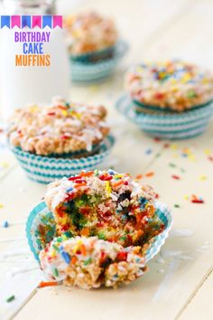 Birthday Cake Muffins recipe.  Birthday Cake Muffins are the perfect breakfast! Packed with sprinkles, they are a colorful and sweet start to your day.