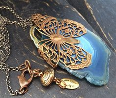 Blue Sliced Agate Pendant Necklace with by KarenTylerDesigns