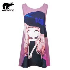 Fashion Women Chiffon O-Neck Girl Pattern Printed Tank Dress Sleeveless Casual Above Knee Vest Club Dresses Straight Tag a friend who would love this! www.lady-fashion.... #shop #beauty #Woman's fashion #Products