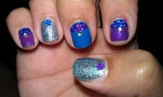 Glitter, blue and purple nails