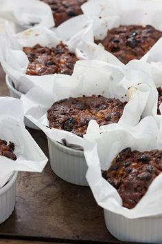 Individual Christmas cake recipe from Sarah Raven. These smaller, ramekin-sized cakes are perfect for presents and putting in people's stockings. Mini Christmas Cakes, Christmas Sweets, Christmas Cooking, Xmas Cakes, Small Christmas Cake Recipe, Best Christmas Pudding Recipe, Christmas Cake Decorations, Holiday Cakes, Mini Cakes
