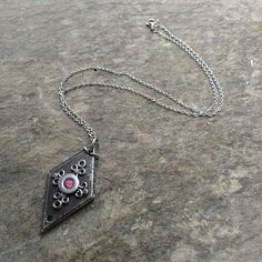 Loralyn Designs Medieval Black Iron Diamond Shaped Pendant  Necklace as seen on The Vampire Diaries
